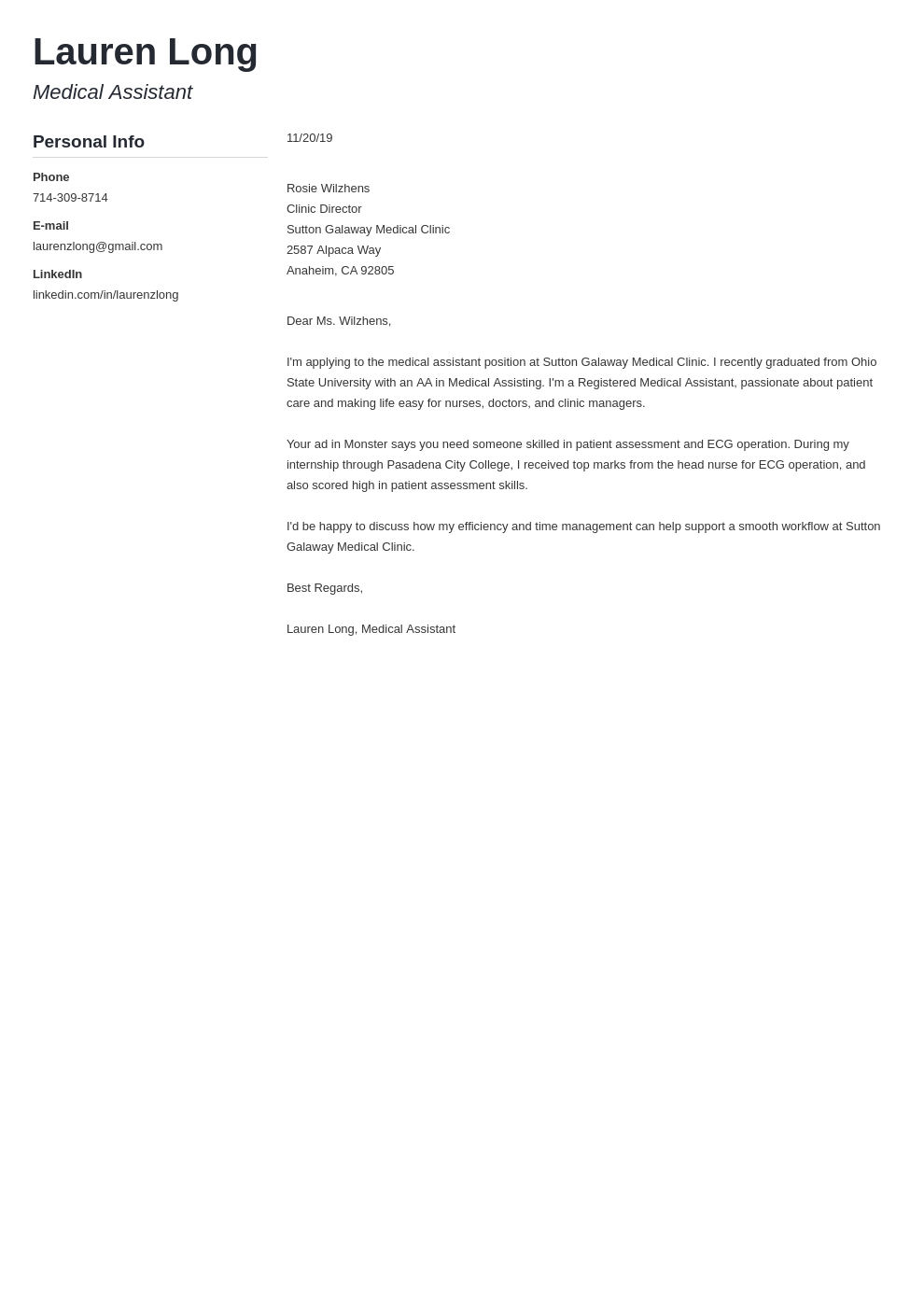 cover letter examples medical assistant template muse