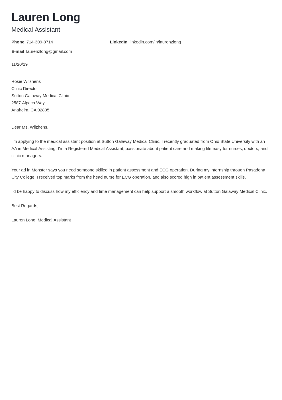 cover letter examples medical assistant template nanica