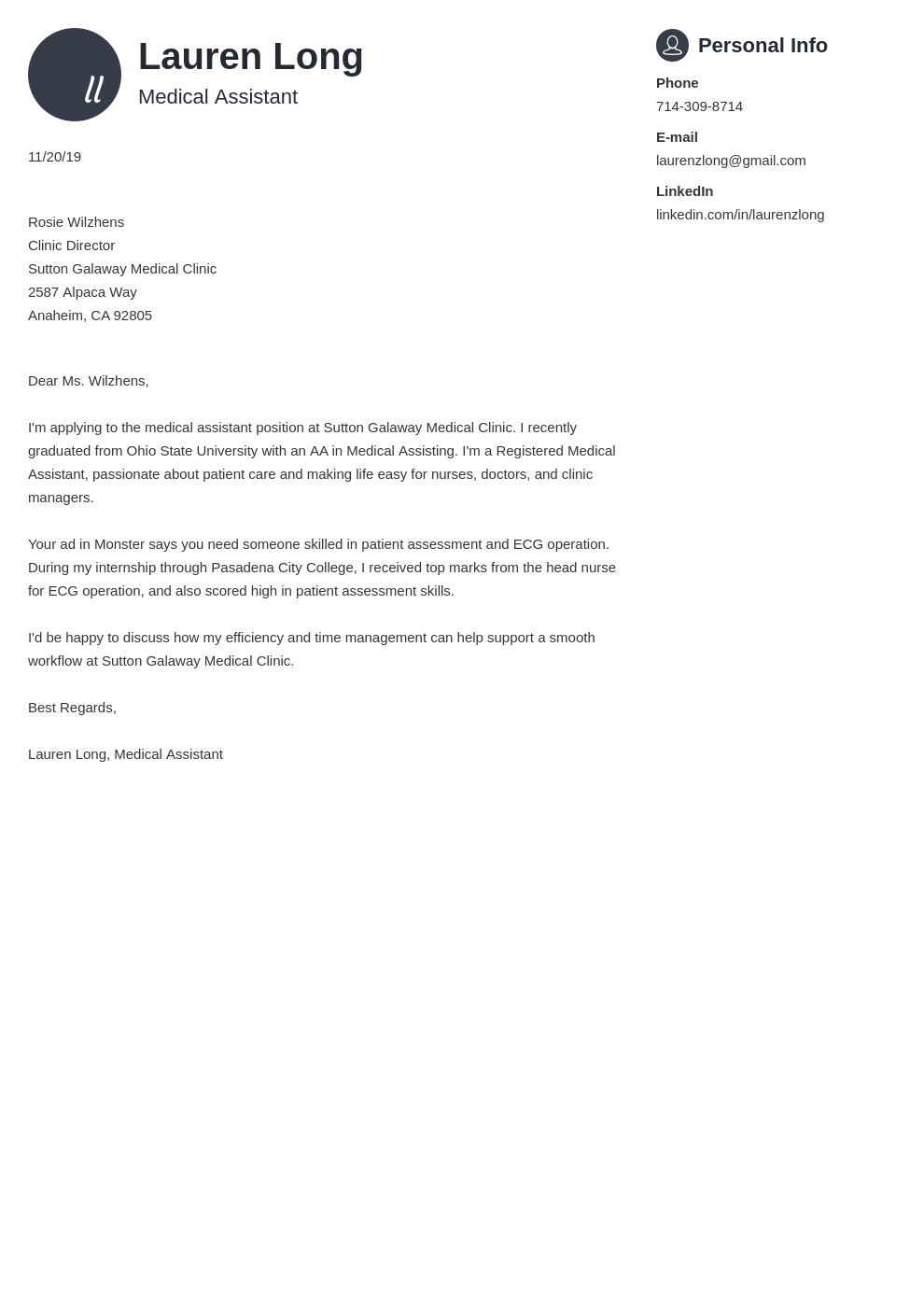 cover letter examples medical assistant template primo