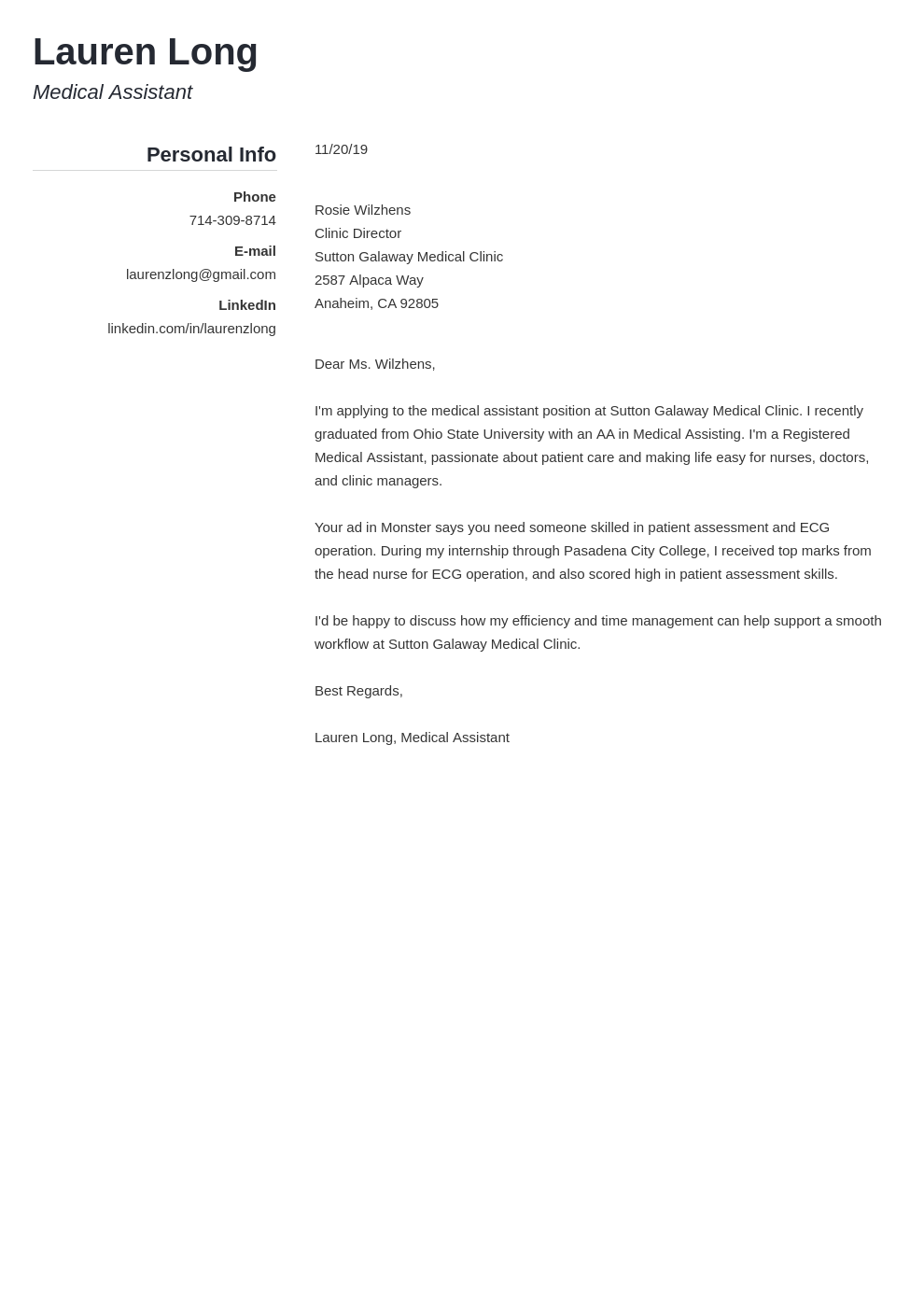 cover letter examples medical assistant template simple