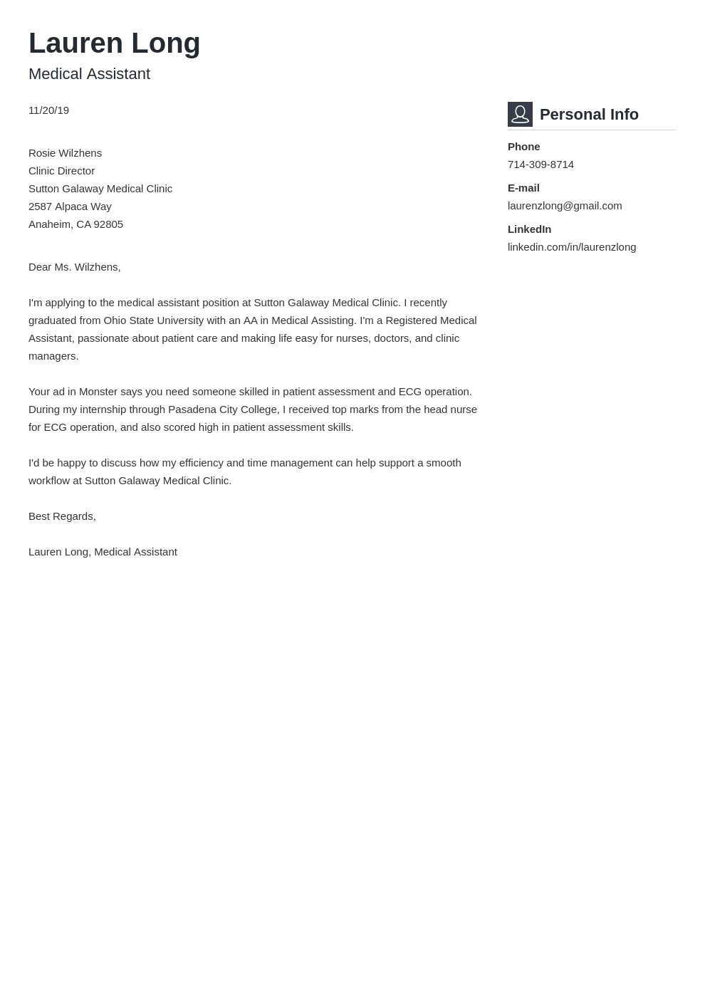 cover letter examples medical assistant template vibes uk