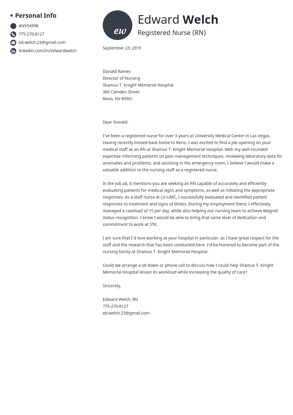 cover letter examples nursing template initials