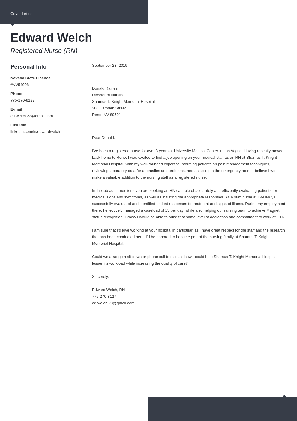 cover letter examples nursing template modern