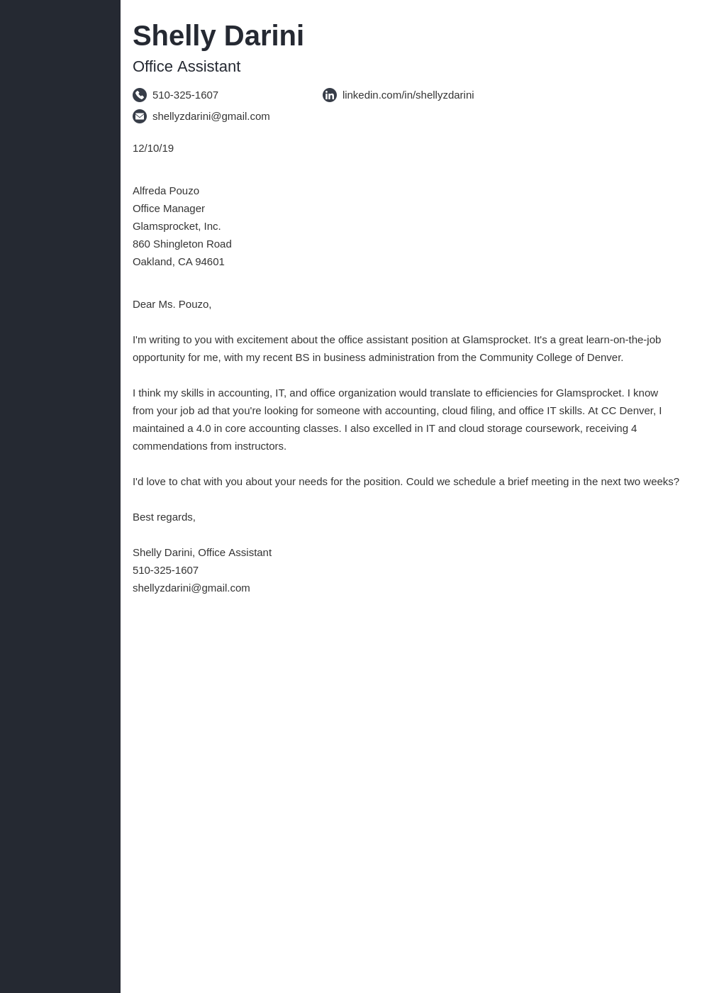 cover letter examples office assistant template concept uk