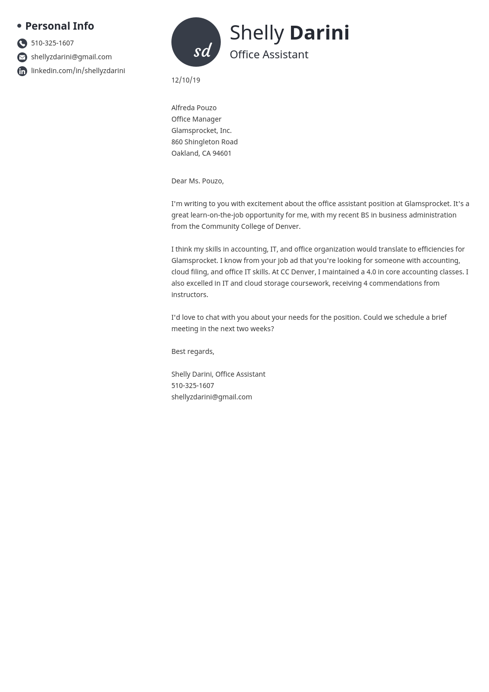 cover letter examples office assistant template initials