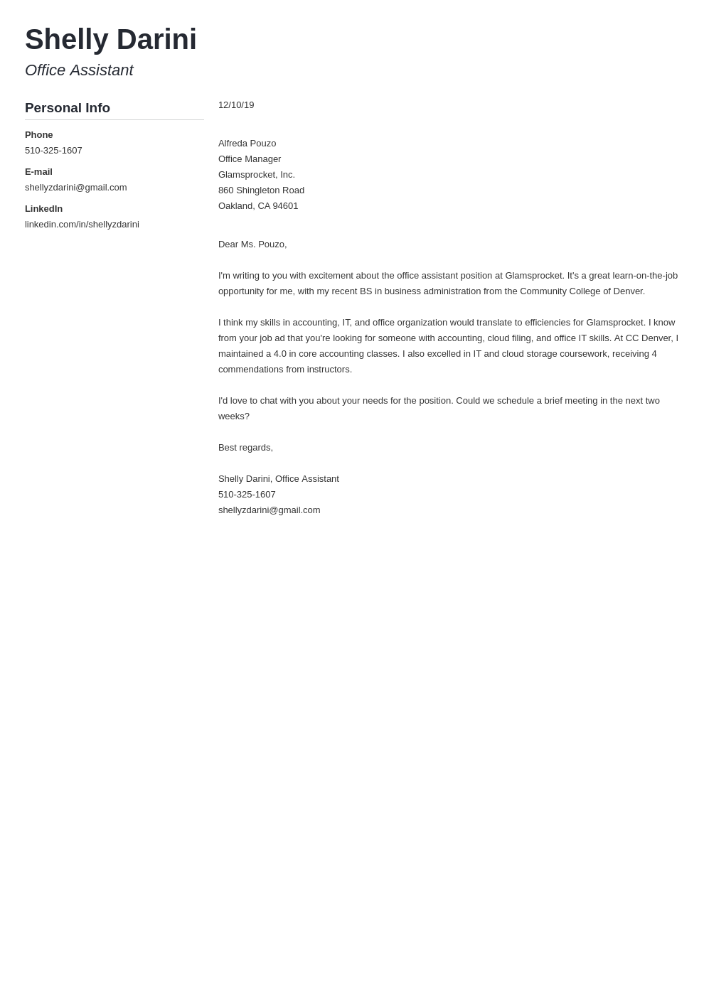 cover letter examples office assistant template muse