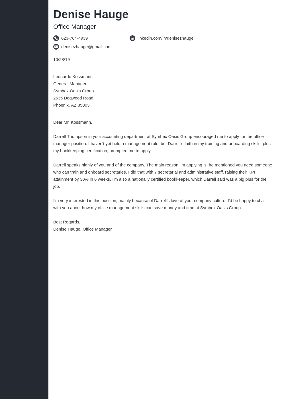cover letter examples office manager template concept