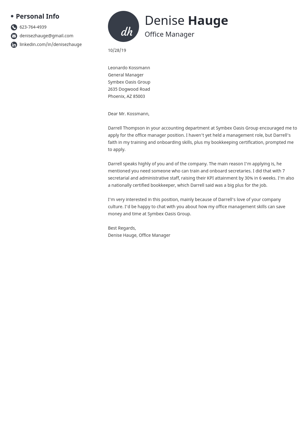 cover letter examples office manager template initials