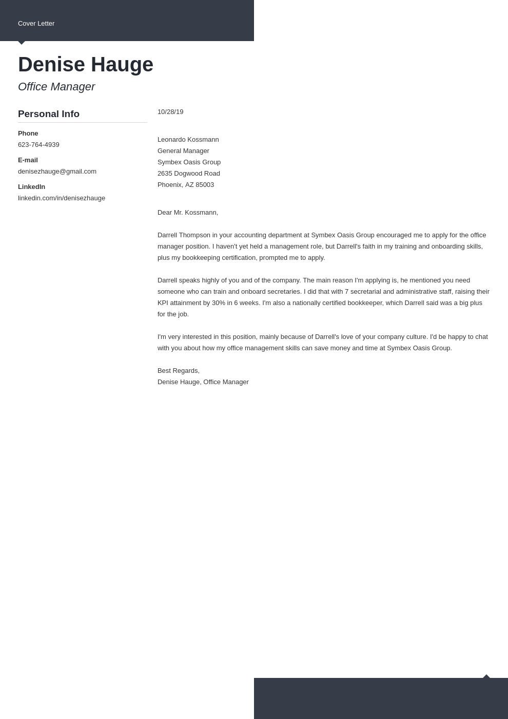 cover letter examples office manager template modern