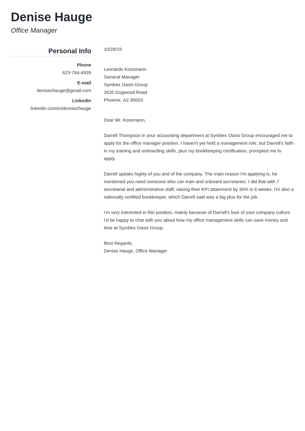 cover letter examples office manager template simple