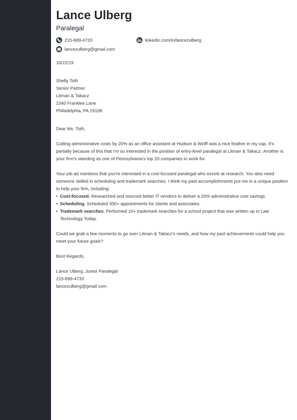 cover letter examples paralegal template concept