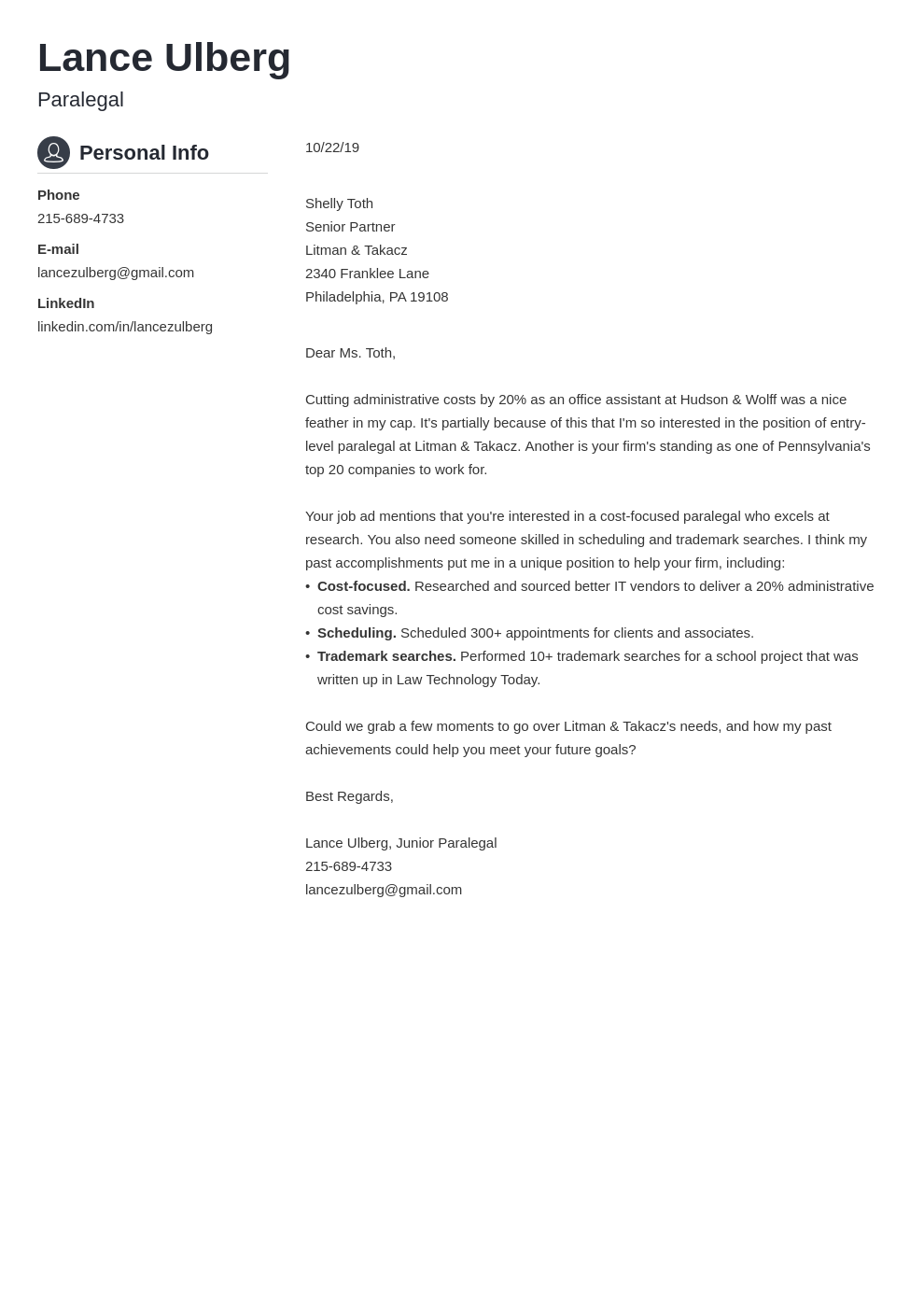 cover letter examples paralegal template crisp