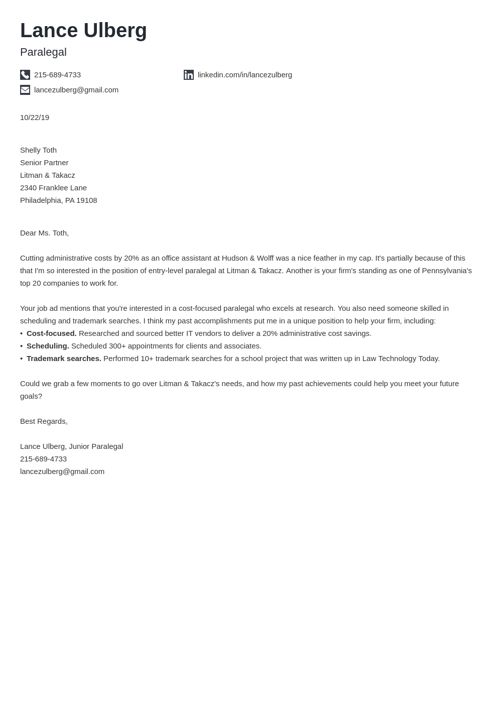 cover letter examples paralegal template iconic