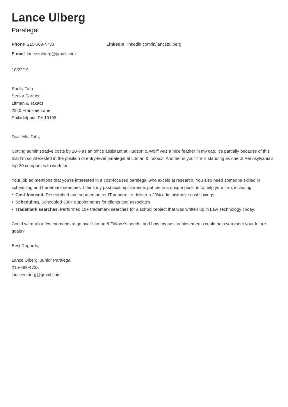 cover letter examples paralegal template minimo