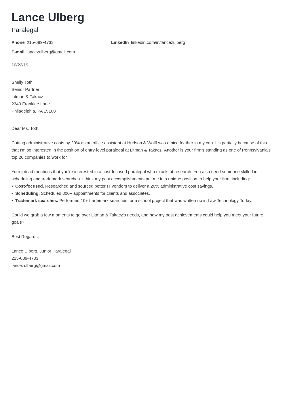 cover letter examples paralegal template nanica