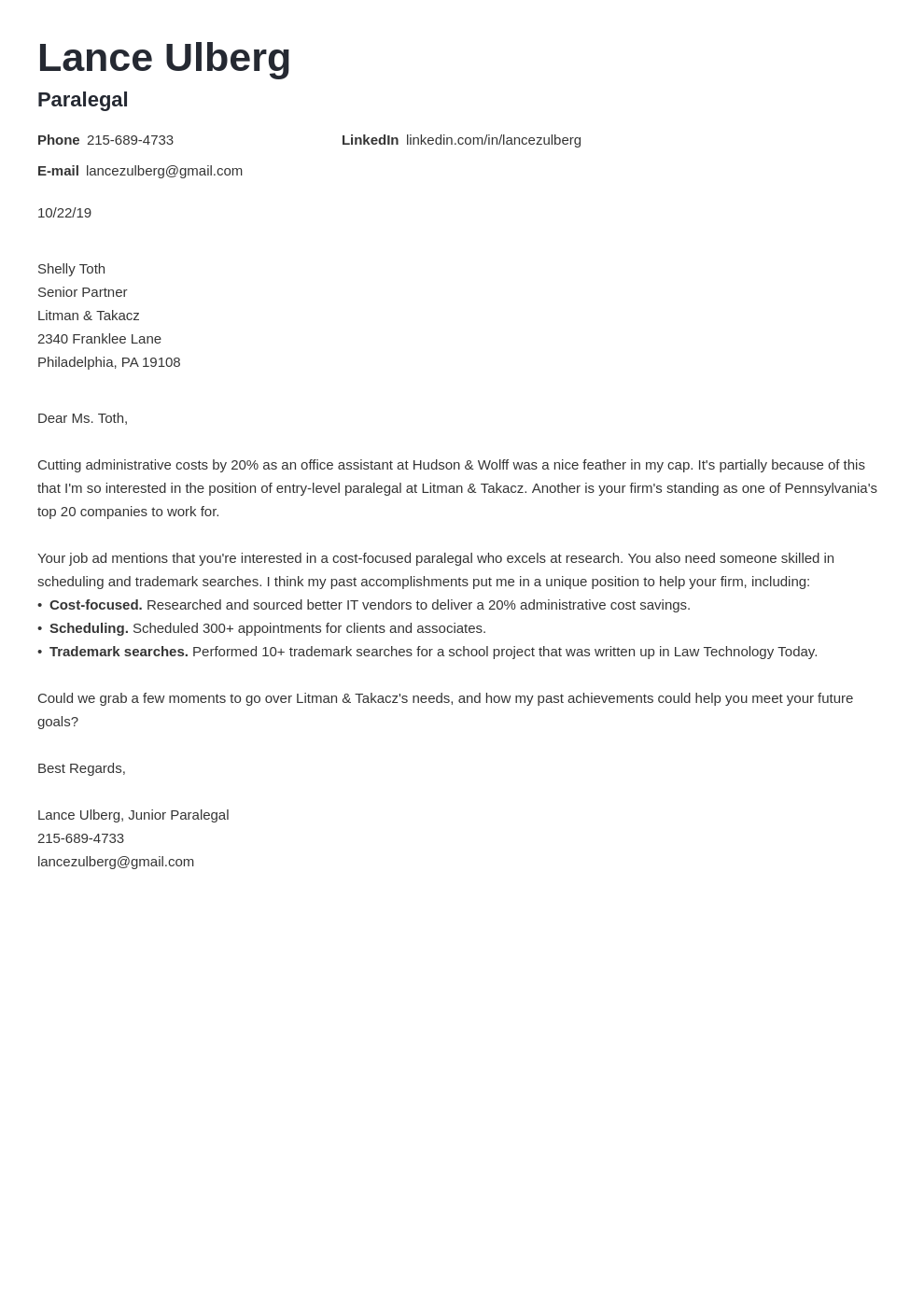 cover letter examples paralegal template valera
