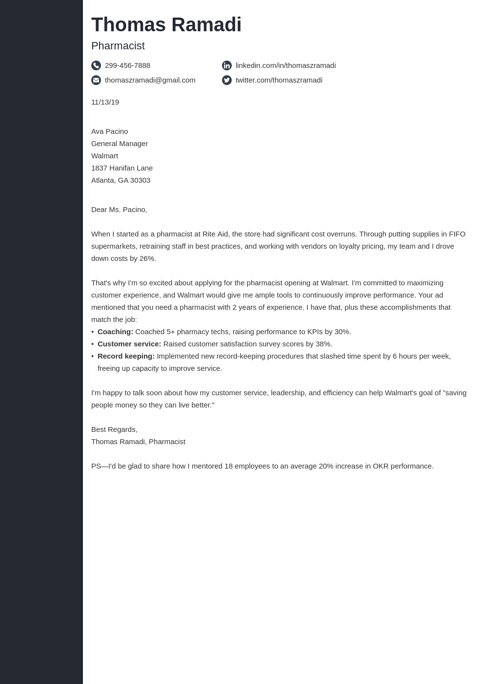 cover letter examples pharmacist template concept