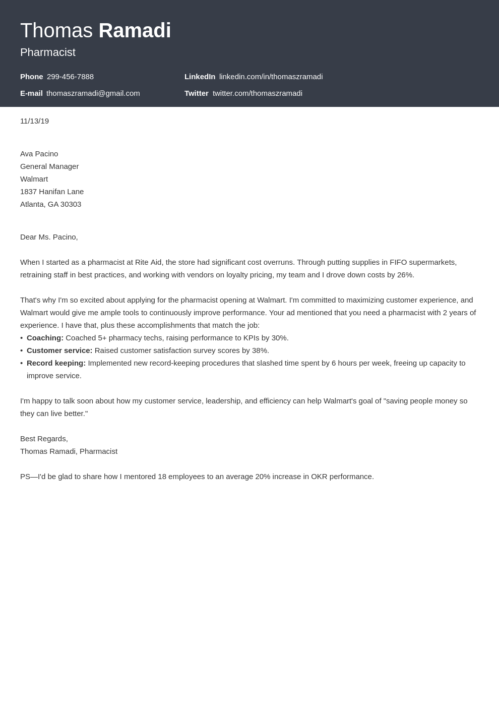 Pharmacist Cover Letter Examples Ready To Use Templates