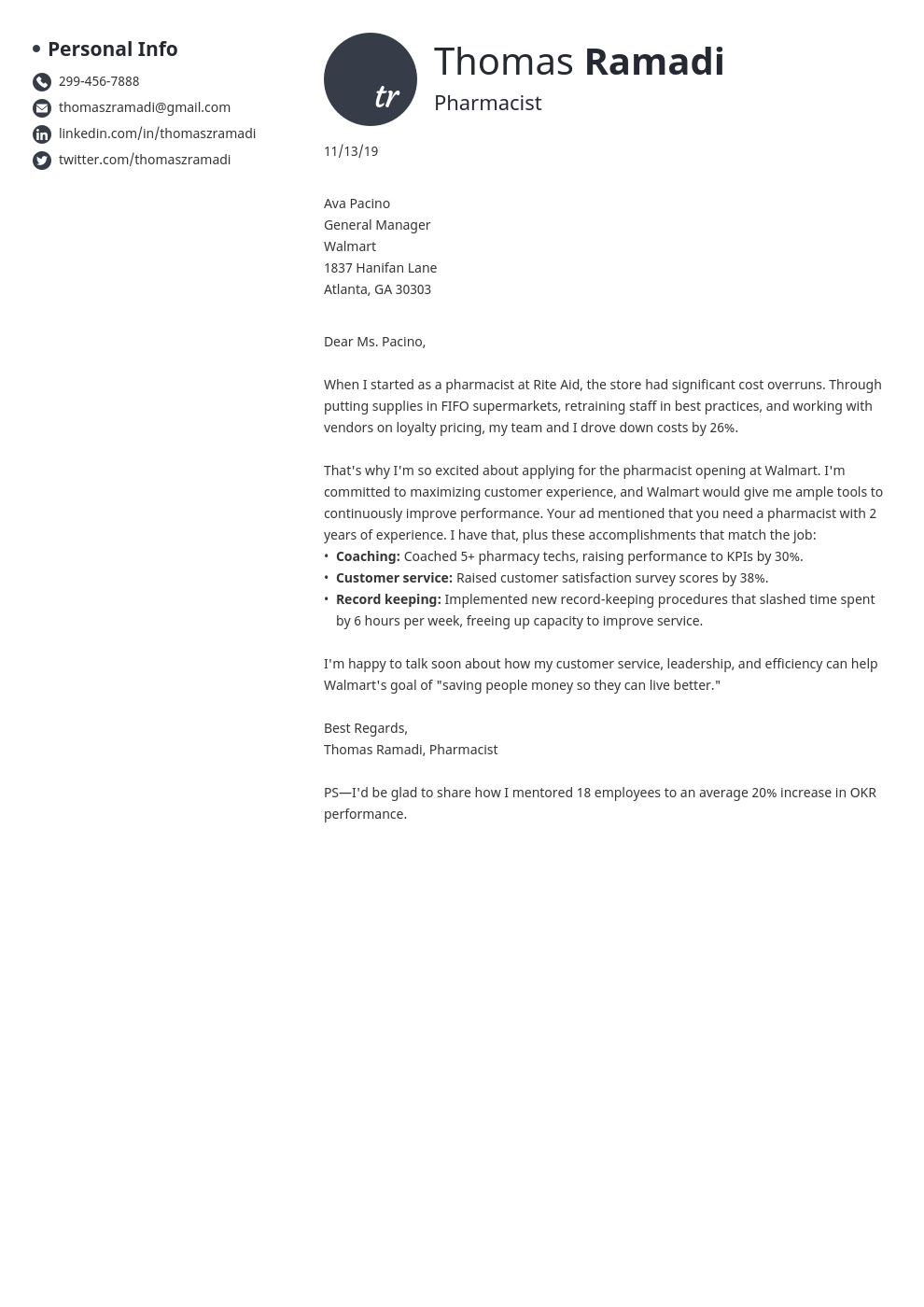 cover letter examples pharmacist template initials