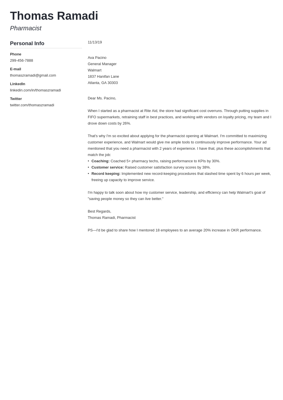 cover letter examples pharmacist template muse