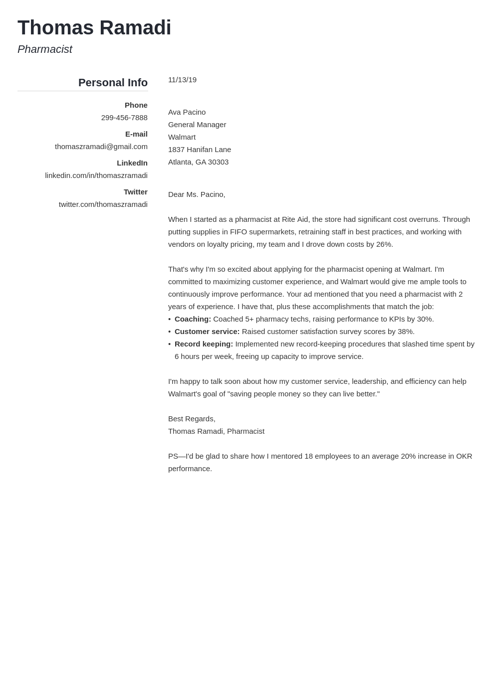 cover letter examples pharmacist template simple