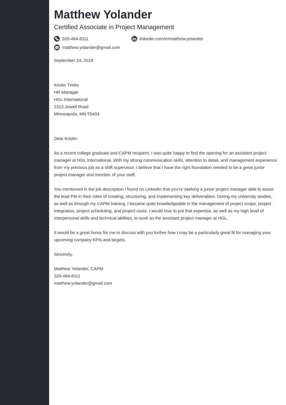 cover letter examples project manager template concept