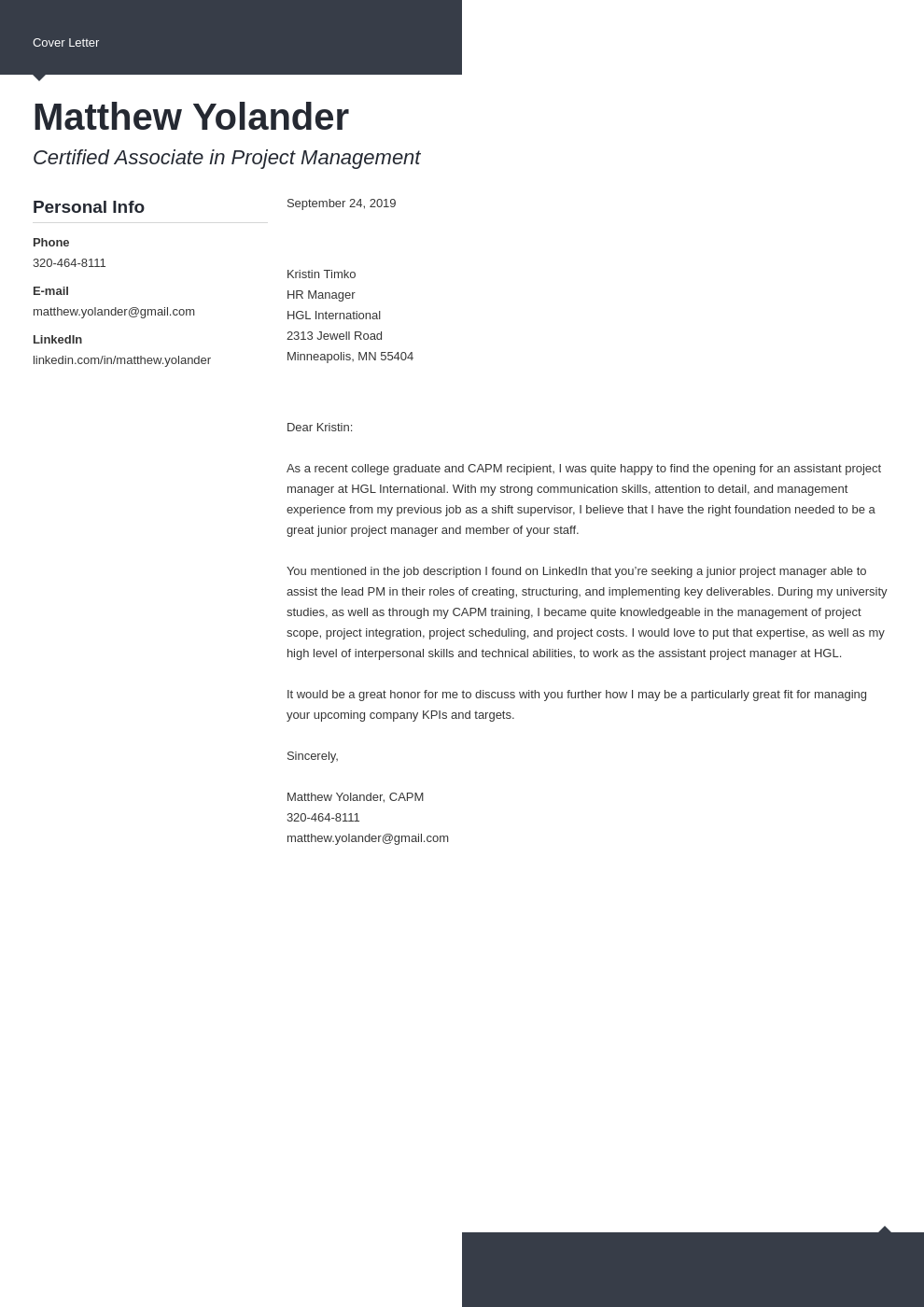 cover letter examples project manager template modern