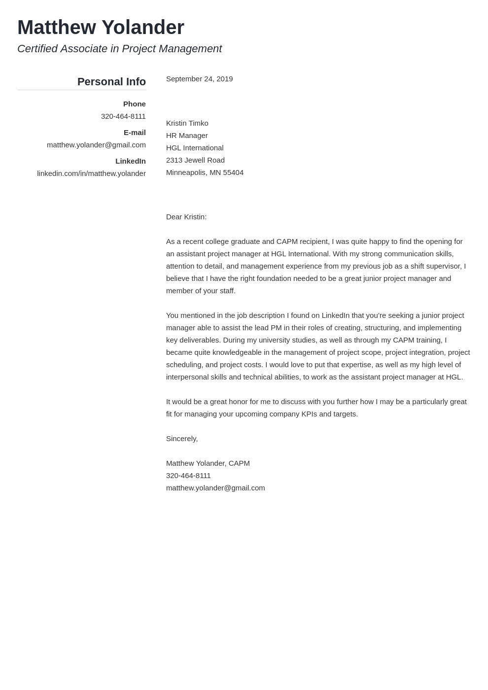 cover letter examples project manager template simple