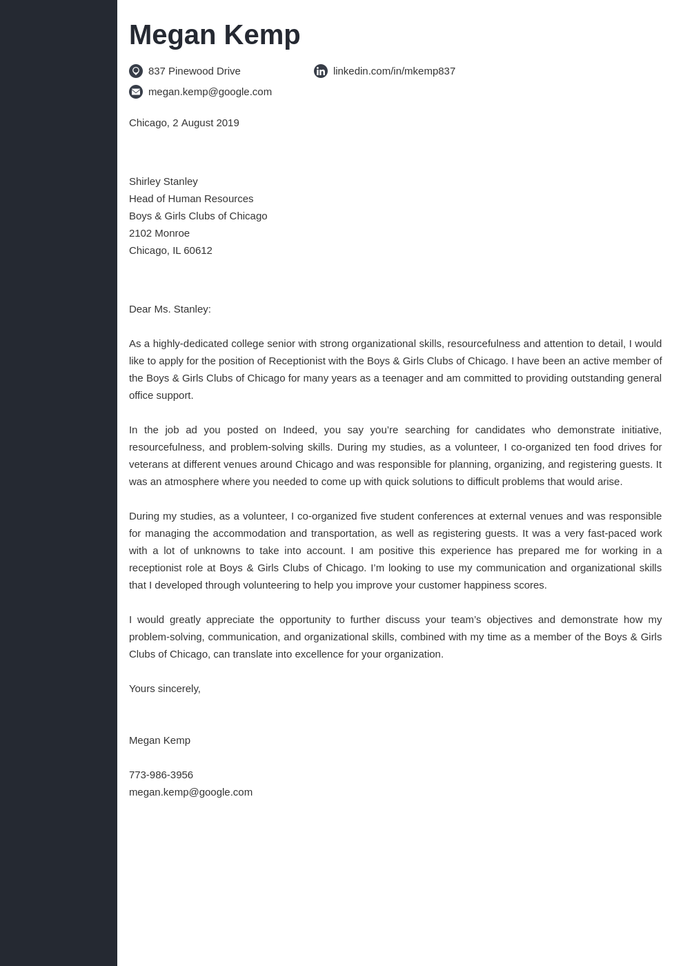 cover letter examples receptionist template concept
