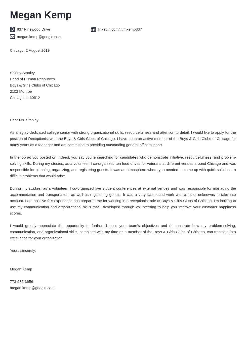cover letter examples receptionist template iconic
