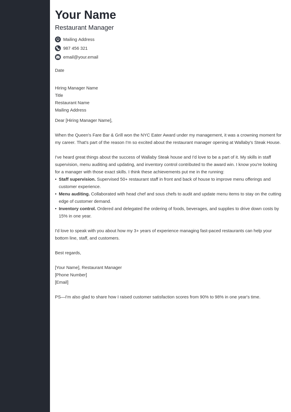 cover letter examples restaurant manager template concept