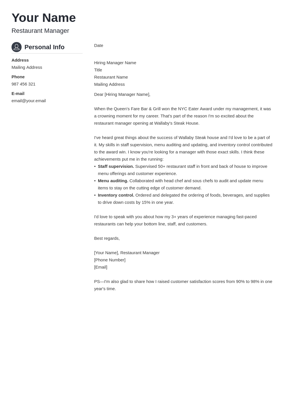 cover letter examples restaurant manager template crisp