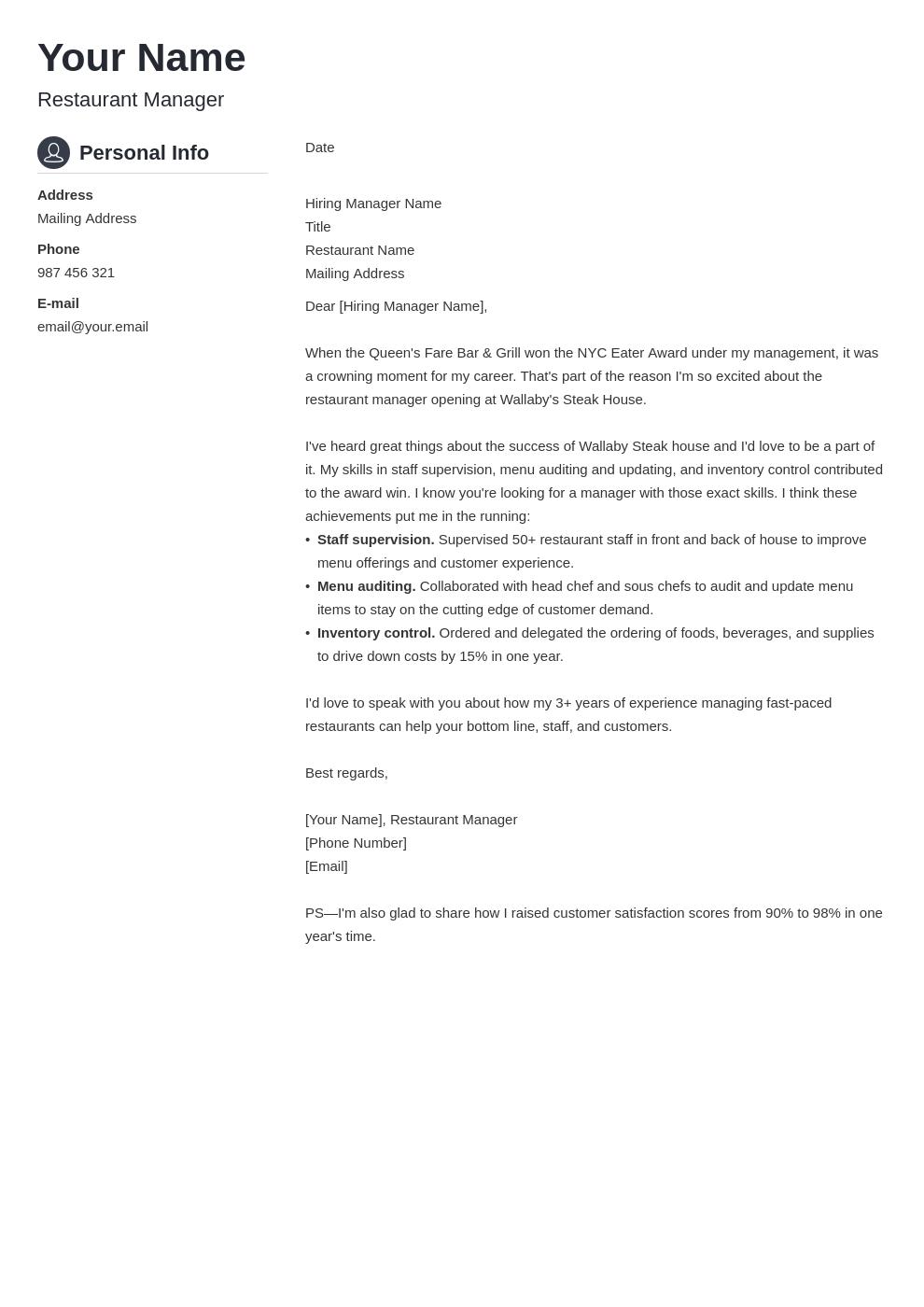 cover letter examples restaurant manager template crisp uk