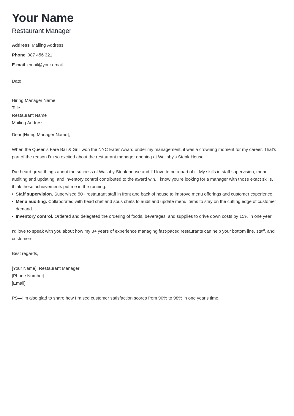 cover letter examples restaurant manager template minimo