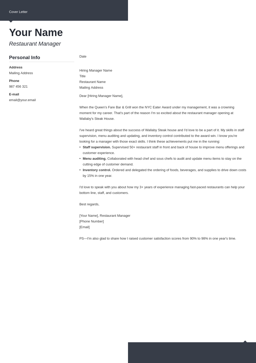 cover letter examples restaurant manager template modern