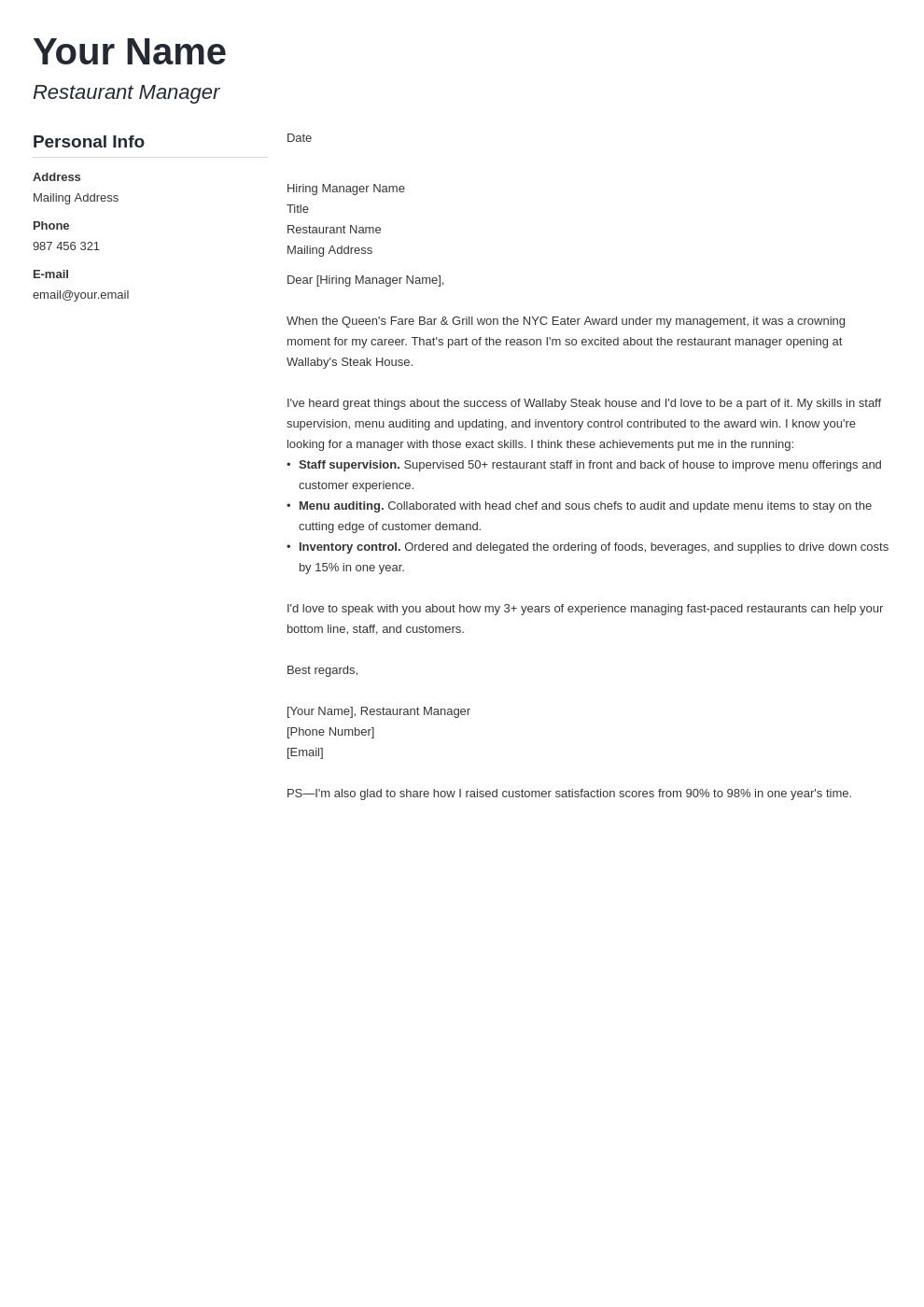 cover letter examples restaurant manager template muse