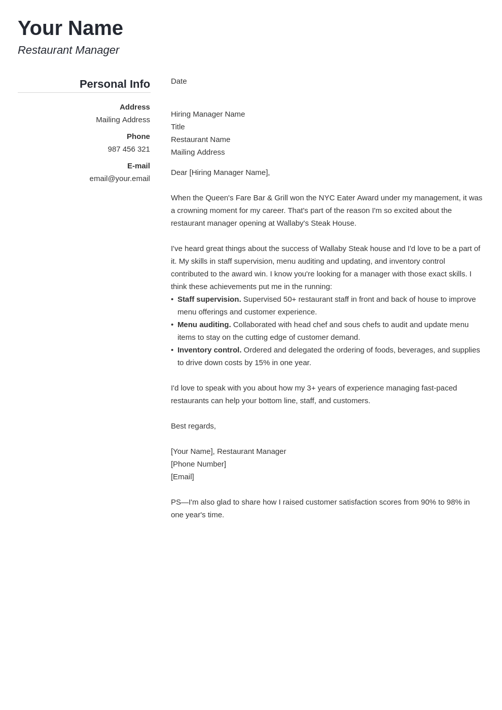 cover letter examples restaurant manager template simple