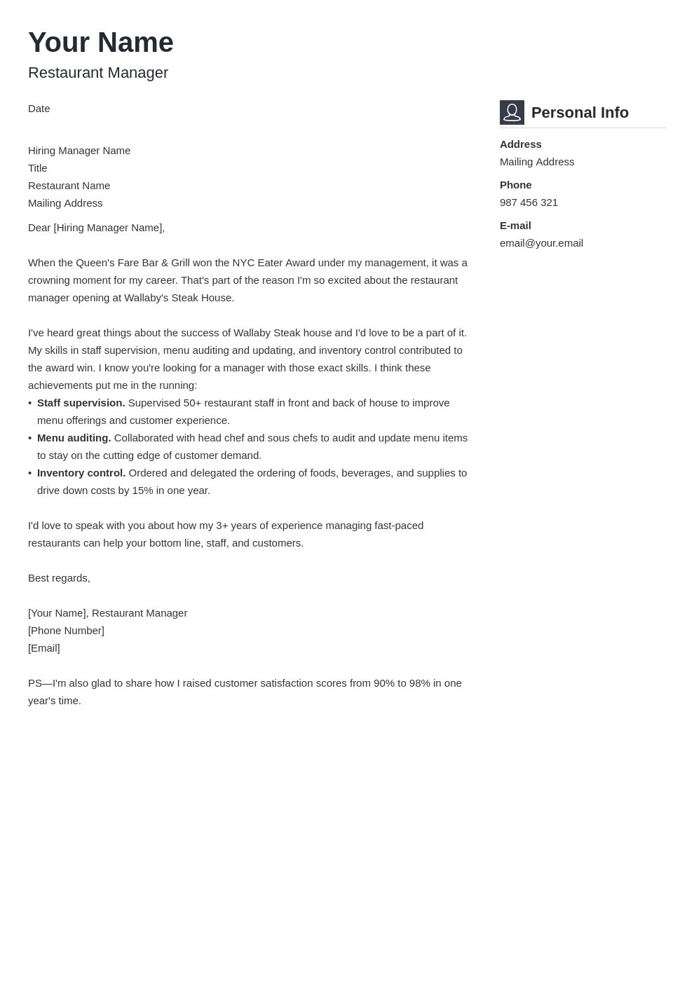 cover letter examples restaurant manager template vibes
