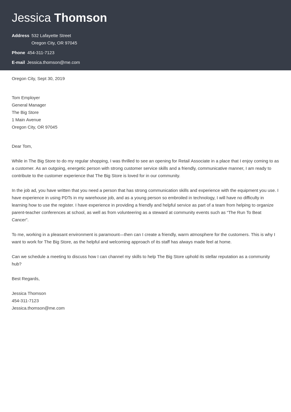 cover letter examples retail template diamond