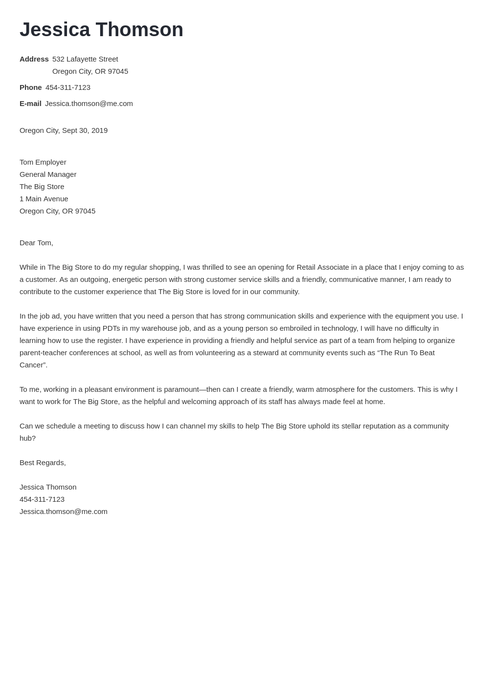 cover letter examples retail template minimo uk