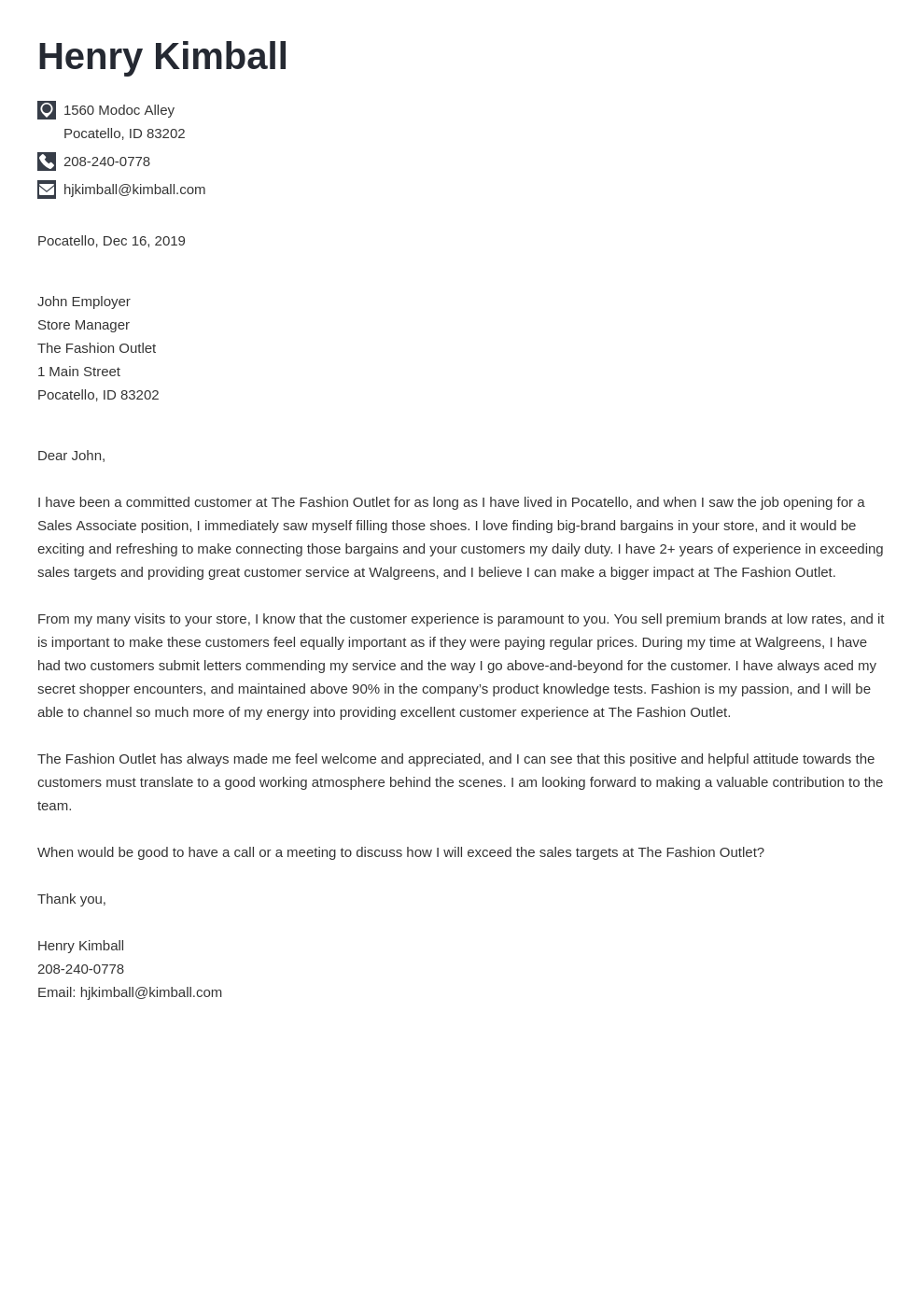 cover letter examples sales associate template iconic