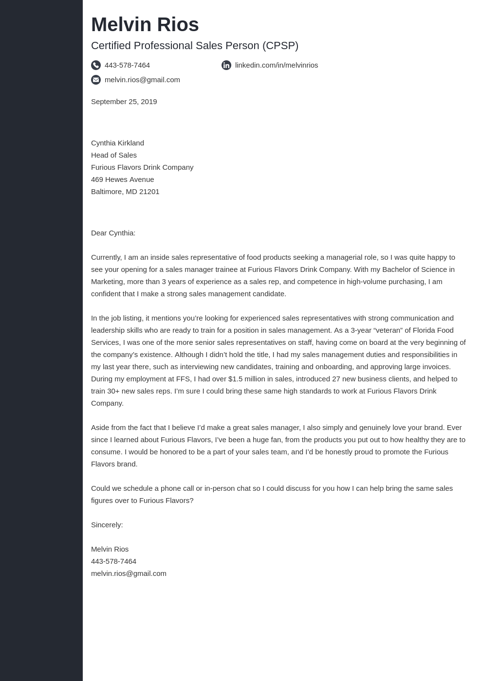 cover letter examples sales template concept