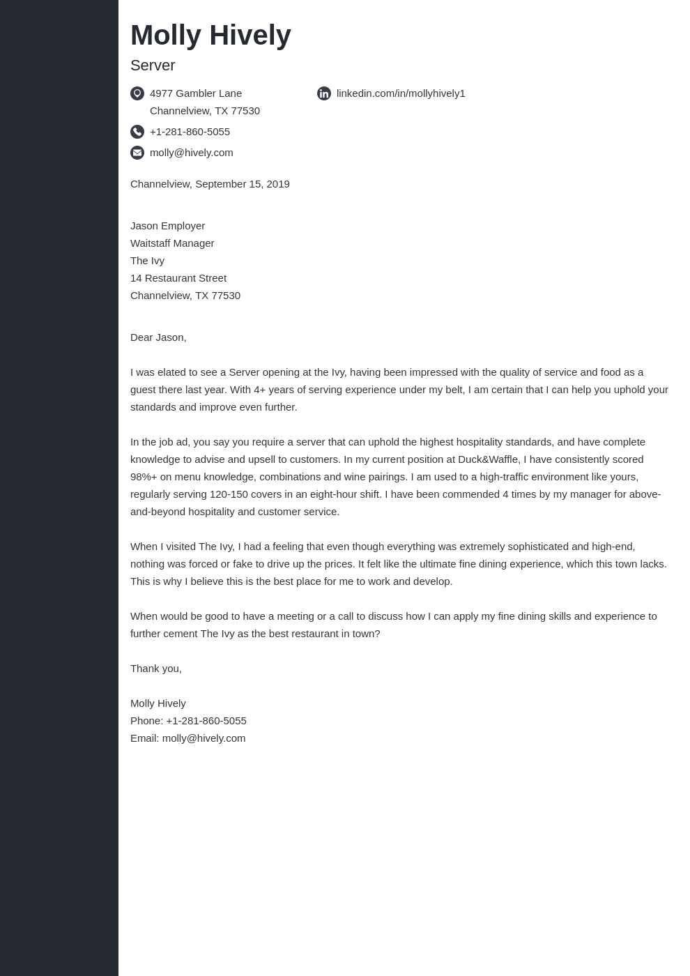 cover letter examples server template concept