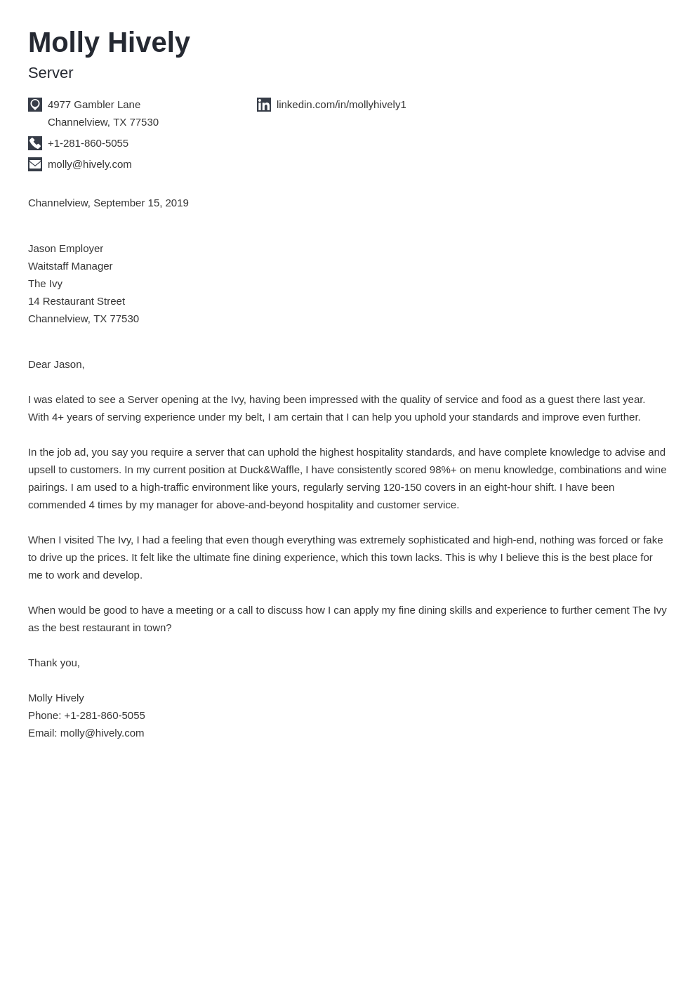 cover letter examples server template iconic