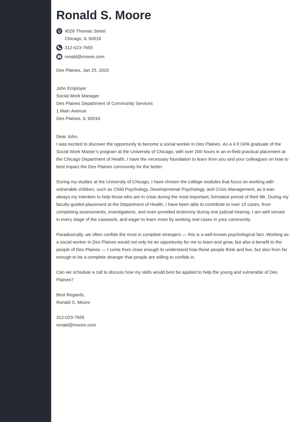 cover letter examples social work template concept