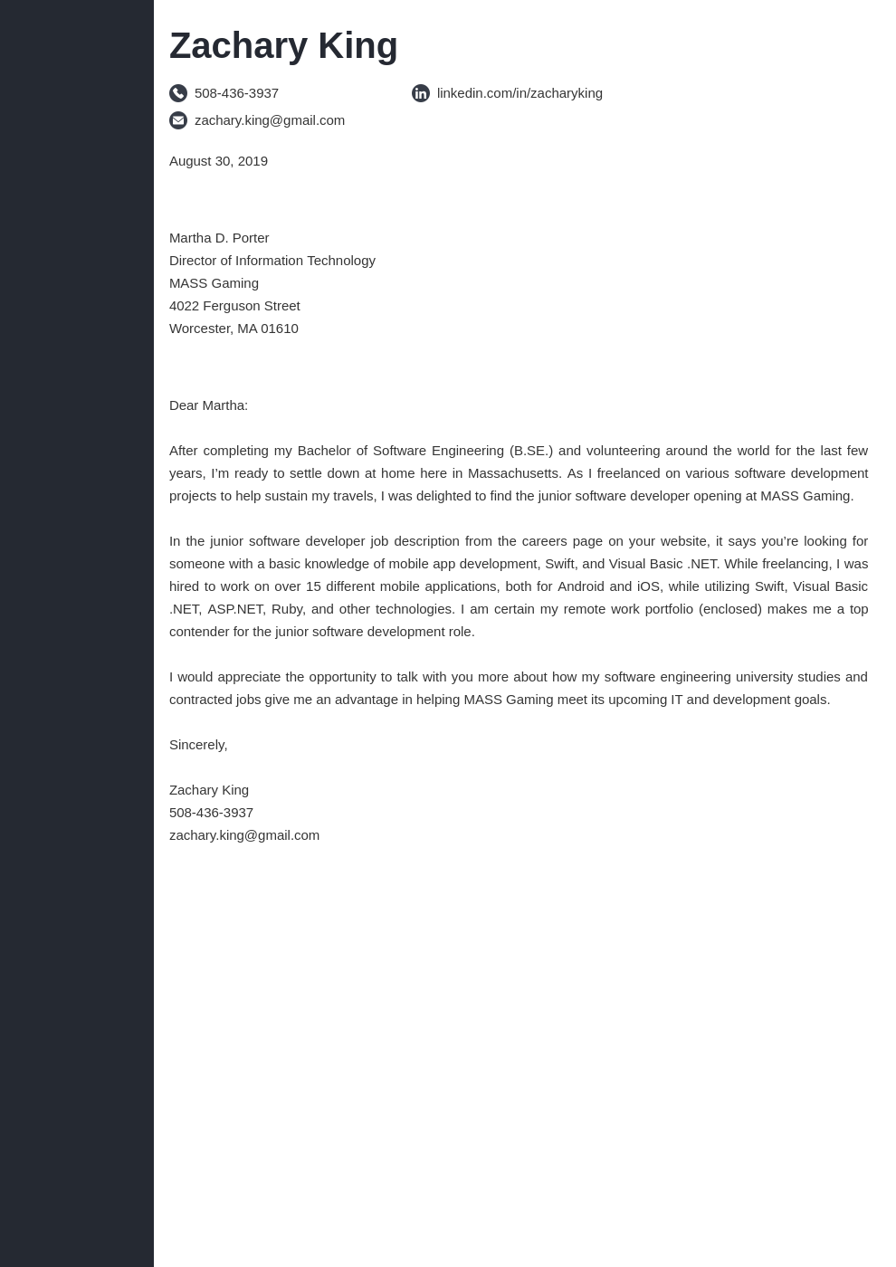 cover letter examples software engineer template concept