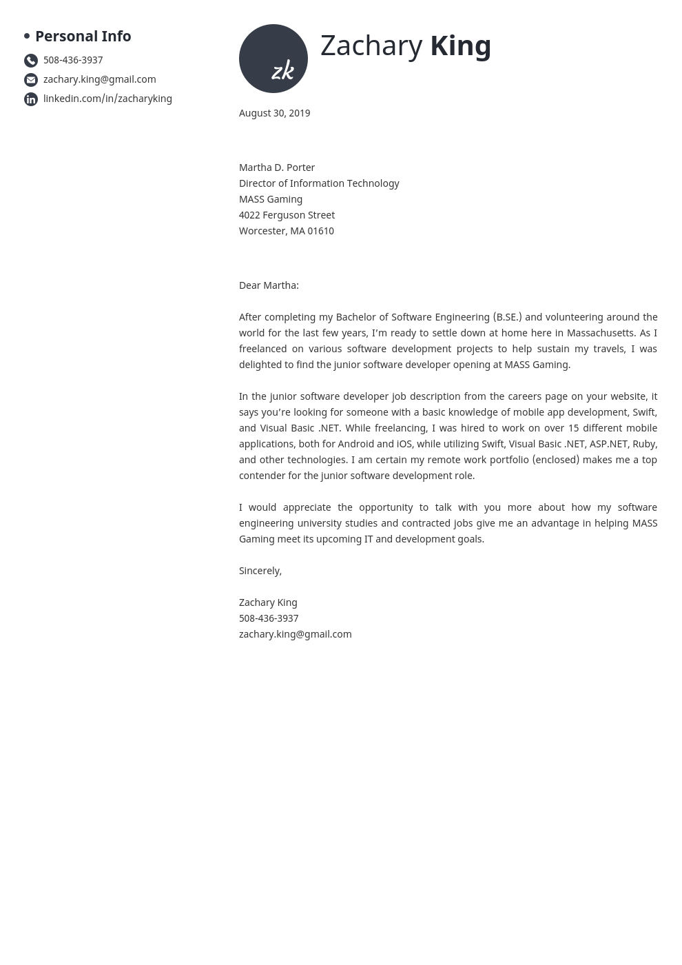 cover letter examples software engineer template initials