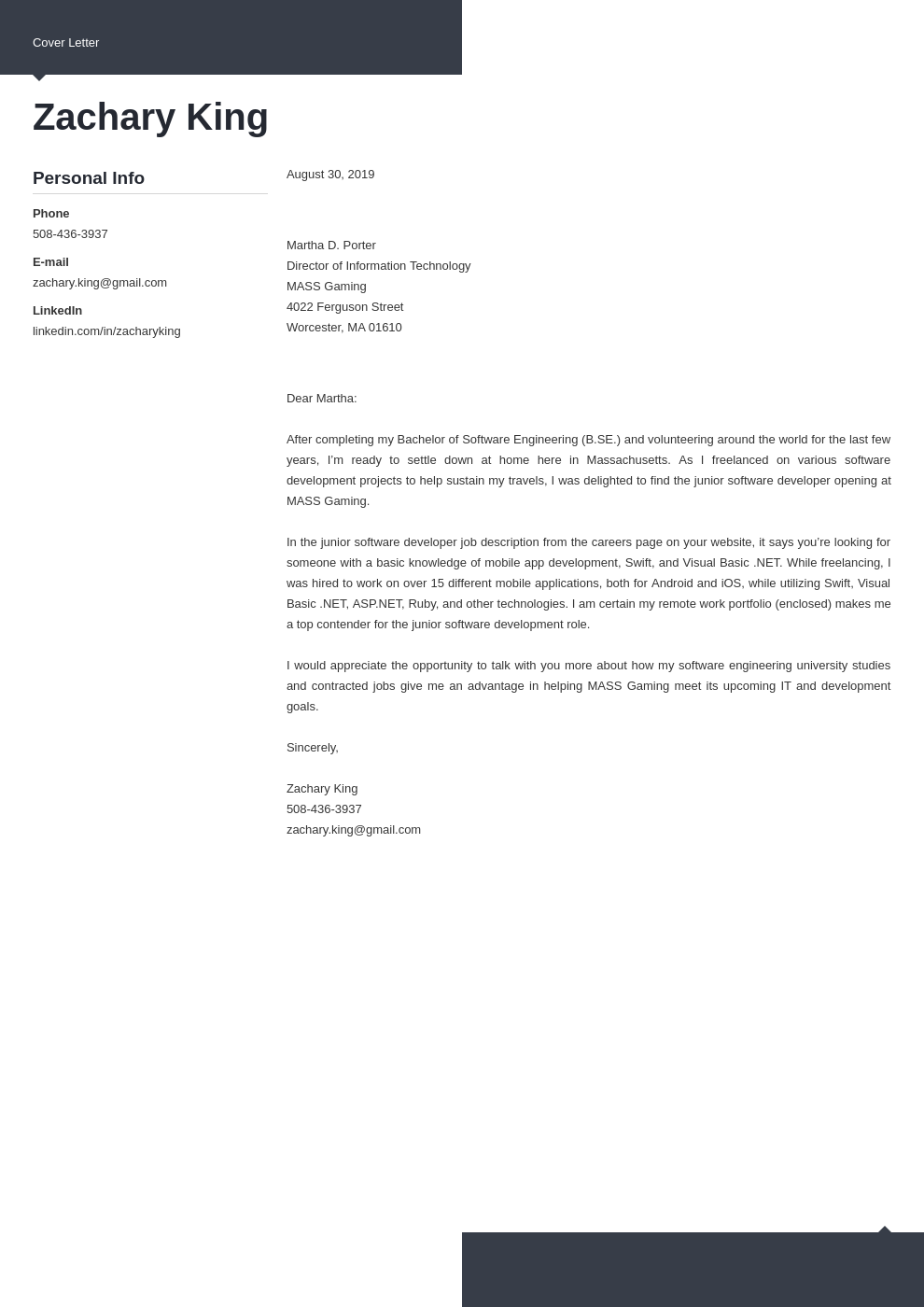 cover letter examples software engineer template modern