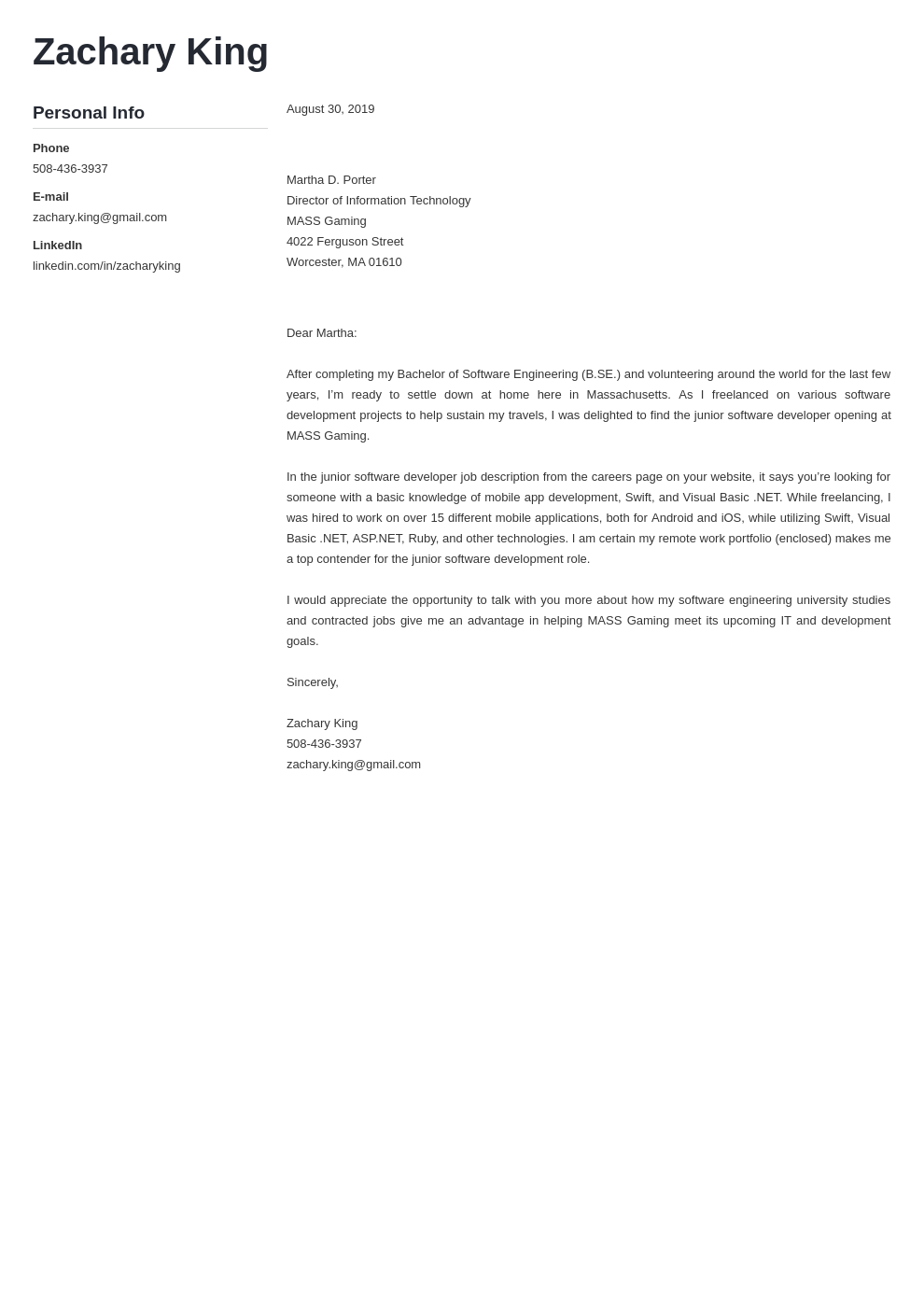 cover letter examples software engineer template muse