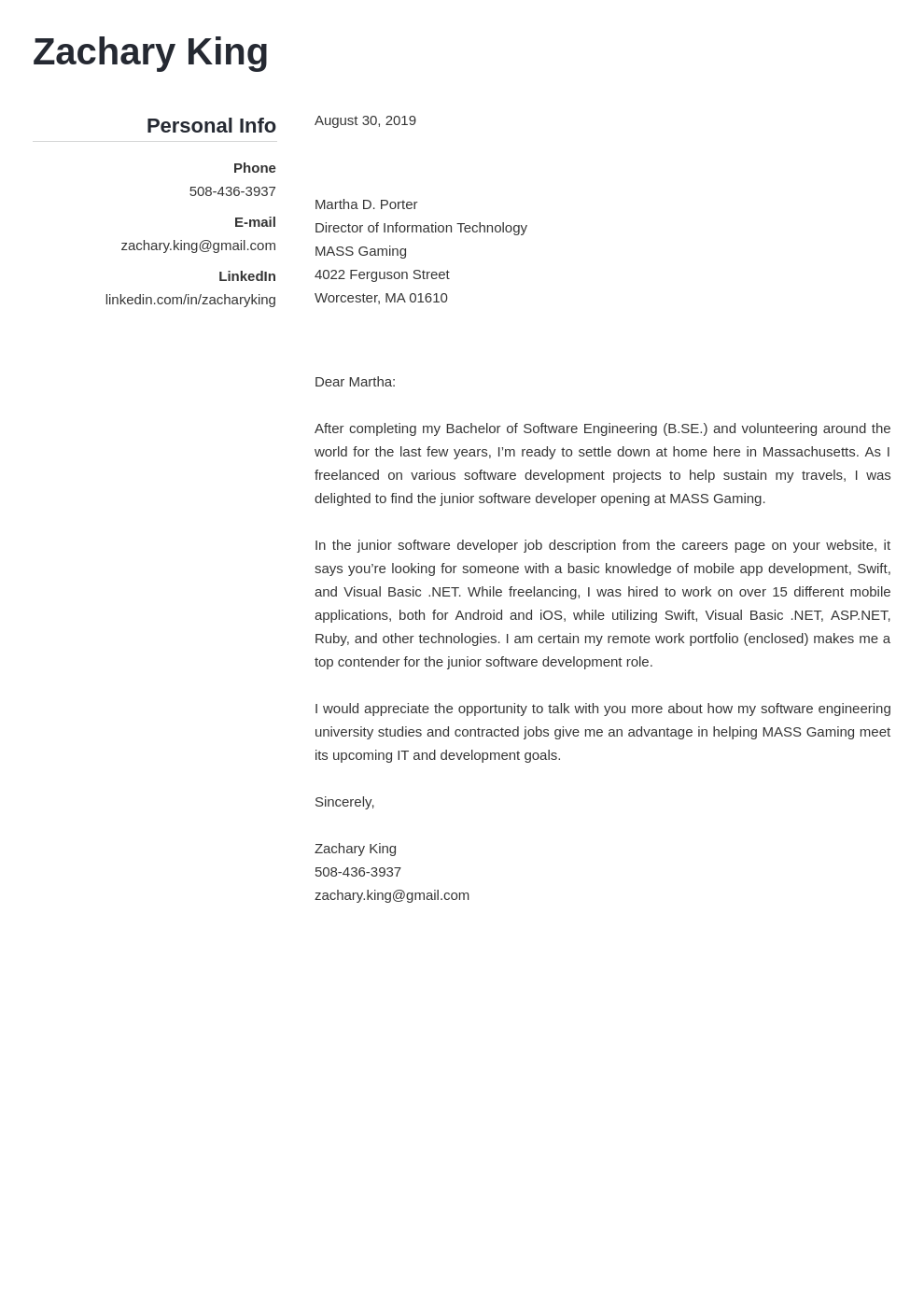 cover letter examples software engineer template simple